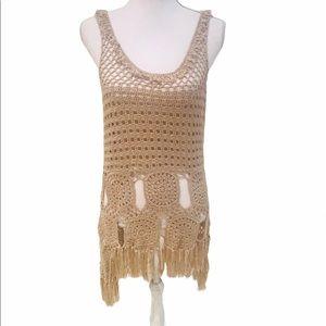 Venus boho chic 70's tan crochet vest fringe